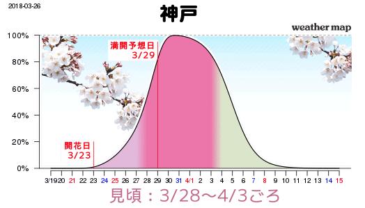 神戸のさくら開花予想2018年